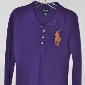 RALPH LAUREN Sequined Big Pony Polo XL (16) Purple